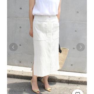 ノーブル(Noble)のリネンST サイドフロントスリットスカート(ひざ丈スカート)