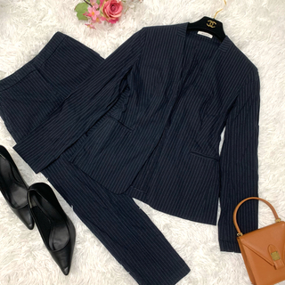 PLST - ♡美品♡プラステ ノーカラースーツ パンツスーツ リネン セットアップ