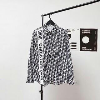 Dior - 新しいフルプリントロゴストライプステッチデザインシルクシャツ