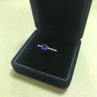 サファイア0.45 ダイヤモンド0.10 プラチナ pt900 リング