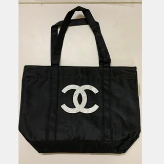 CHANEL - 【極美品】CHANELシャネル  トートバッグ ノベルティ 黒×白ロゴ