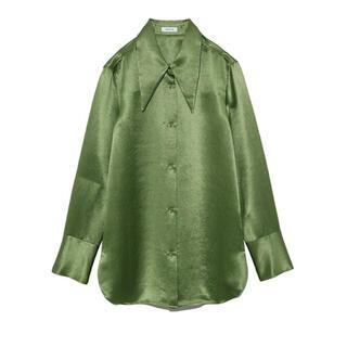 FRAY I.D - FRAY I.D ビッグカラーサテンシャツ