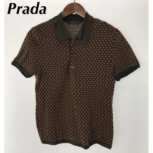 PRADA(プラダ)のVintage PRADA ニットポロシャツ/44/コットン/総柄 メンズのトップス(ポロシャツ)の商品写真
