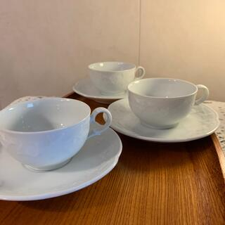 Noritake - ノリタケ  ホテルオークラ カップ&ソーサー 3客 イチョウの葉エンボス