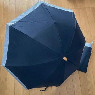 サンバリア100 2段折り 木ストレート手元 日傘 ネイビー 人気色