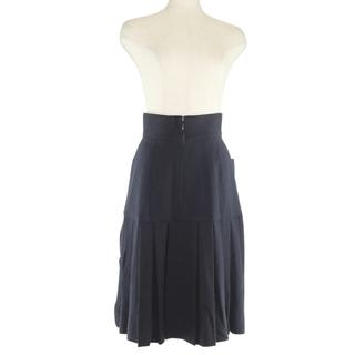 シャネル(CHANEL)のシャネル プリーツ   20534  ウール     ネイビー(ひざ丈スカート)