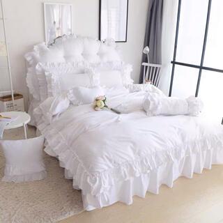 フリル綿なめらか肌触り寝具カバーセット掛け布団カバーベッドスカート枕カバーセット
