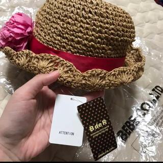ベベ(BeBe)の新品 タグ付き べべ 麦わら 帽子 52(帽子)