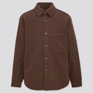 UNIQLO - 新品未使用 ユニクロ オーバーシャツジャケット ダークブラウン Lサイズ
