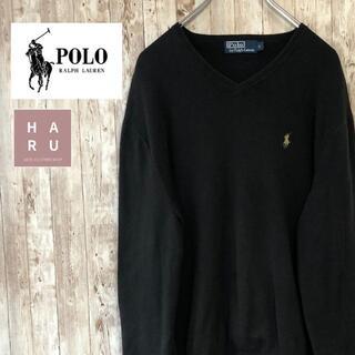 POLO RALPH LAUREN - ポロバイラルフローレン Vネック薄手セーター ワンポイントロゴ