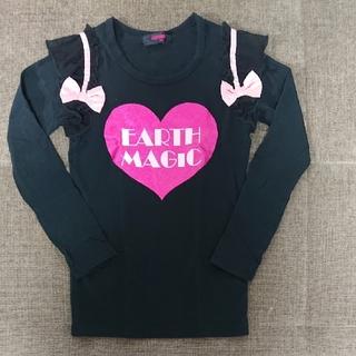 アースマジック(EARTHMAGIC)の130cm アースマジック 肩フリルリボン付きハートロンT(Tシャツ/カットソー)