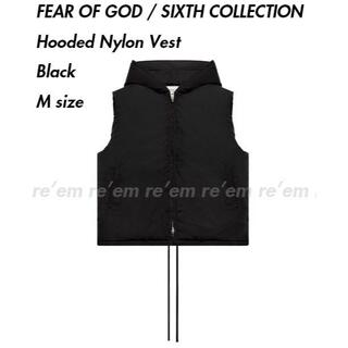 FEAR OF GOD - FEAR OF GOD HOODED NYLON VEST BLACK M 19