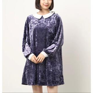 スピンズ(SPINNS)の新品 夢かわいい ロリータ チュニック 襟付き ミニワンピース ベロア 紫色 (ミニワンピース)