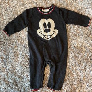 ベビーギャップ(babyGAP)の【良品】GAP BABY 6ヶ月〜12ヶ月 ミッキー サロペット ロンパース(ロンパース)