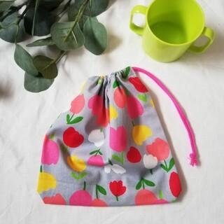 コップ袋●チューリップ×ピンク(バッグ/レッスンバッグ)