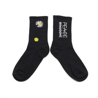 ストリート系ソックス 花柄 韓国靴下  メンズ スケボー