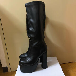 未使用 厚底ブーツ コスプレ 黒 ブラック スワローテイル(靴/ブーツ)