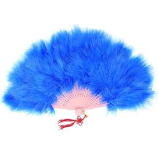 180度展開 大きい ジュリアナ扇子 ファー ブルー //bnb(小道具)