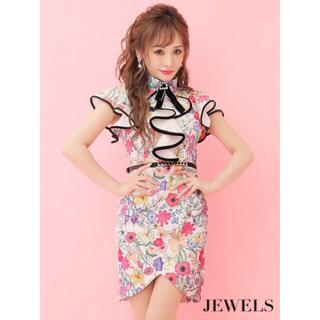 JEWELS - JEWELS♡ビジューブローチ付フラワープリントフリルミニドレス♡キャバドレス