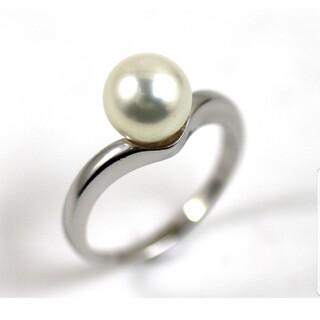 MIKIMOTO - ミキモト PT950 アコヤ真珠 約8.5mm デザイン リング 16号 指輪