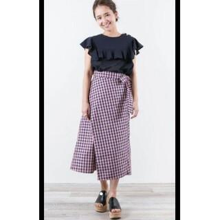Drawer - yori japan チェック 手洗い可能 巻きスカート