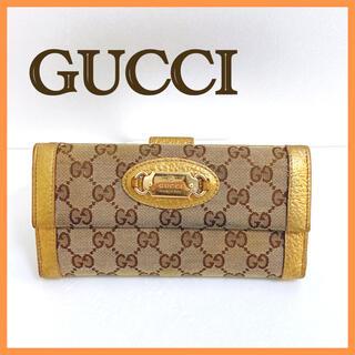 Gucci - GUCCI グッチ Wホック長財布 GGキャンバス ブラウン ゴールド
