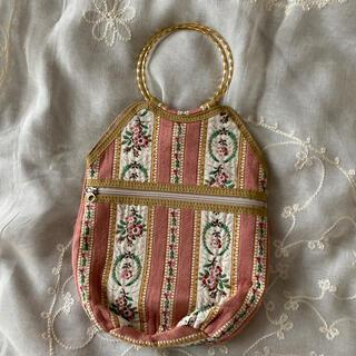 グリモワール(Grimoire)のvintageレトロ古着ピンクお花ゴブラン刺繍バッグ(ハンドバッグ)