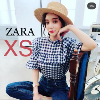 ザラ(ZARA)のZARA フリル ギンガムチェック ブラウス シャツ ラッフル XS(シャツ/ブラウス(半袖/袖なし))