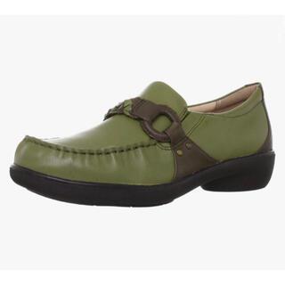 ムーンスター(MOONSTAR )の新品 スポルス 本革 靴 ローファー カーキ 24.0(ローファー/革靴)
