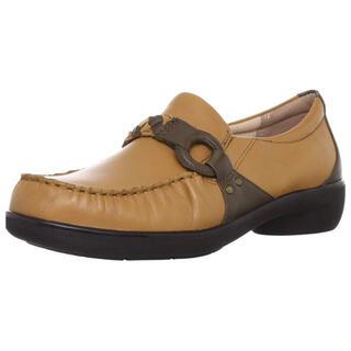 ムーンスター(MOONSTAR )の新品 スポルス 本革 靴 ローファー ベージュ 24.0(ローファー/革靴)