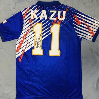asics - 1993年日本代表ホームレプリカユニフォームXL #11三浦知良 フルサイン入り