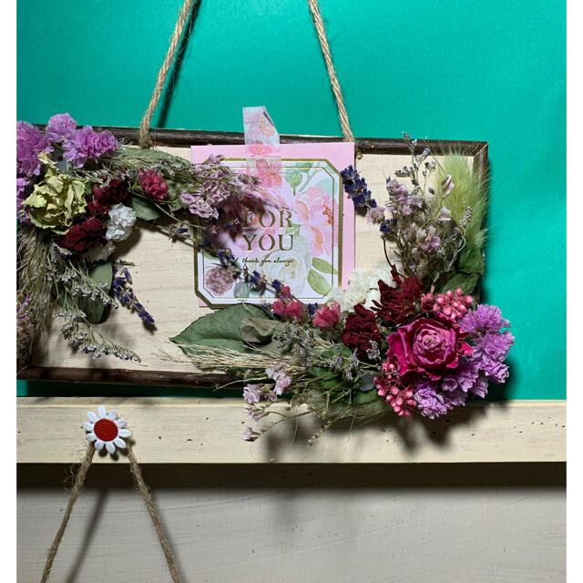 ドライフラワー壁掛け ハンドメイドのフラワー/ガーデン(ドライフラワー)の商品写真