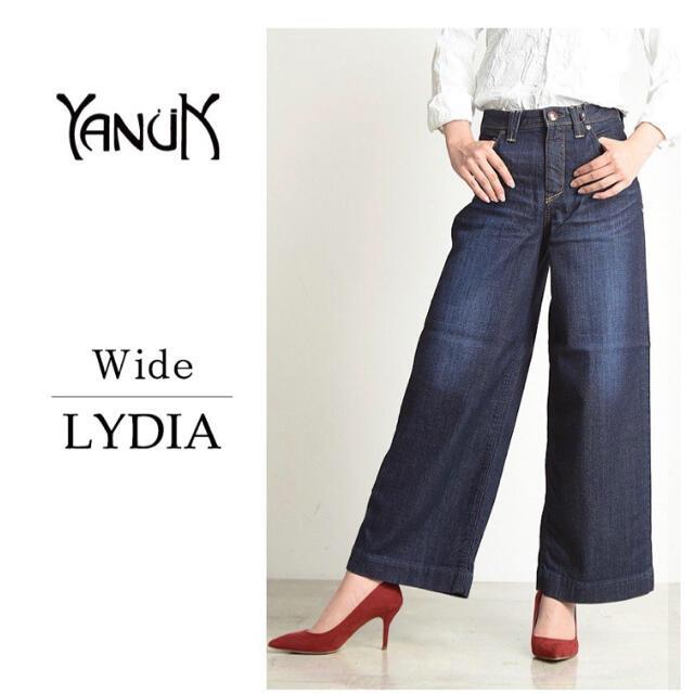 YANUK(ヤヌーク)のYANUK ヤヌーク Lydia リディア ワイド デニムパンツ レッドカード レディースのパンツ(デニム/ジーンズ)の商品写真