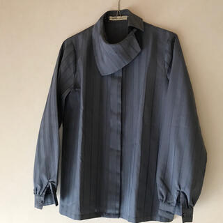 vintage デザインシャツ 個性的 襟 ブルー