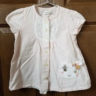 クーラクール(coeur a coeur)のクーラクール 半袖ブラウス ストライプ ブラウス 白色 白 ホワイト ピンク 薄(シャツ/カットソー)