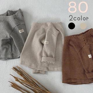 春服にマストなアイテム☆長袖 ボーダー トップス ベージュ 80 韓国子供服