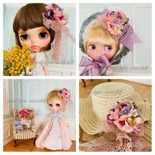 蝶々と花の髪飾り 13番(クリップとピン両方ついてます(人形)