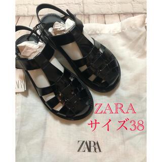 ZARA - 【未使用品】ZARA  フラットケージサンダル 38