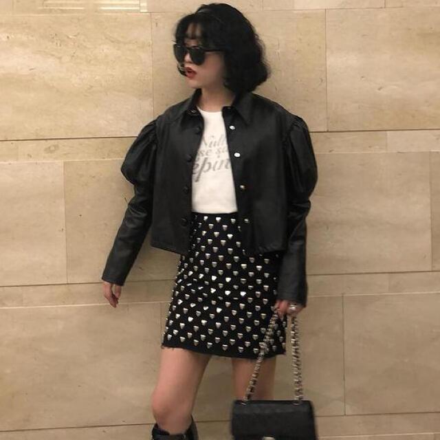 Bubbles(バブルス)のepine エピヌ パフスリーブ レザージャケット treat bibiy レディースのジャケット/アウター(ライダースジャケット)の商品写真