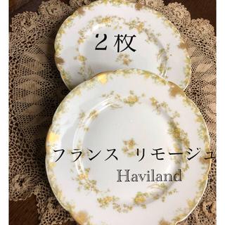 フランス リモージュ アビランド*金彩と小花の皿 2枚セット Haviland