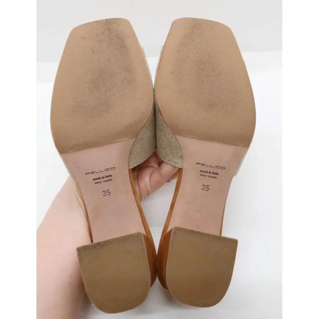 PELLICO(ペリーコ)のPELLICO ペリーコ Vカットリネンスクエアサンダル 35 22㎝ レディースの靴/シューズ(サンダル)の商品写真