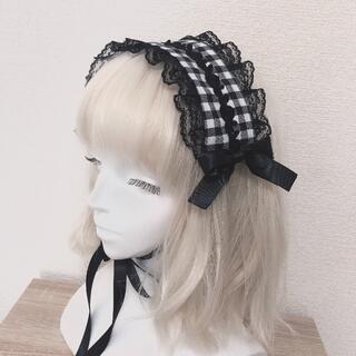 黒白ギンガム薔薇レースヘッドドレス ロリータ 量産型 地雷系 ゴスロリ