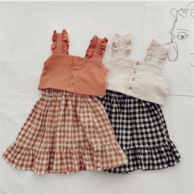 ベビー キッズ  スカート セットアップ ワンピ 韓国子供服 ギンガムチェック キッズ/ベビー/マタニティのキッズ服女の子用(90cm~)(ワンピース)の商品写真