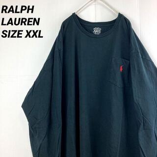POLO RALPH LAURENラルフローレン長袖ポケット付ロゴ刺繍Tシャツ黒