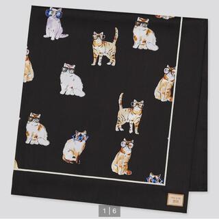 PAUL & JOE - ユニクロ ポール&ジョー スカーフ 黒 猫 ネコ