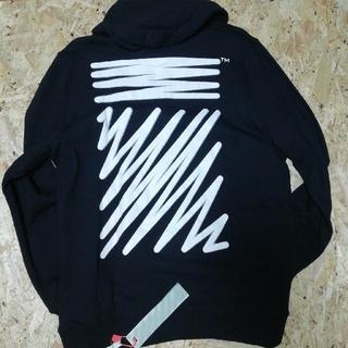 SALE☆オフホワイト パーカー ブラック XL
