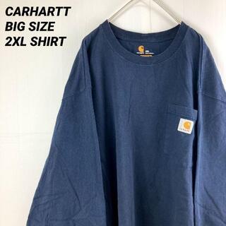 carhartt - 【2XL】デカイcarharttカーハートポケット付長袖TシャツロンTネイビー
