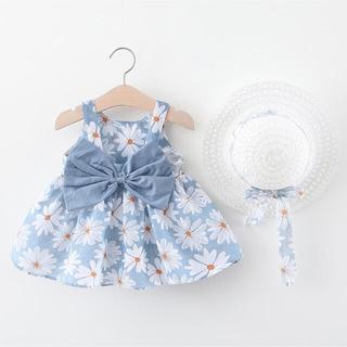 ベビー キッズ ワンピース 花柄 フリル リボン 帽子付 水色 韓国子供服 春夏