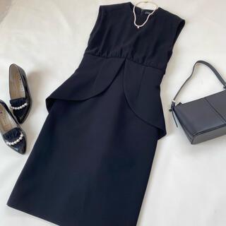 BARNEYS NEW YORK - 美品✨ヨーコチャン ワンピース ドレス ペプラム 黒 ブラック 春服 ドレス