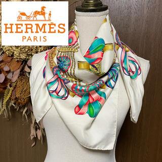 Hermes - HERMES エルメス スカーフ カレ90 白